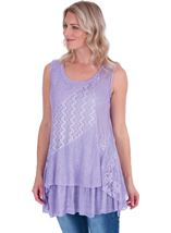 Lace Panel Layered Sleeveless Top Lilac - Gallery Image 1
