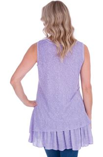 Lace Panel Layered Sleeveless Top - Lilac