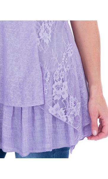 Lace Panel Layered Sleeveless Top Lilac - Gallery Image 3