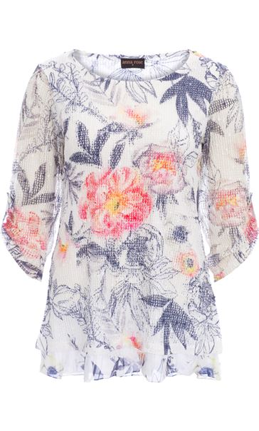 Anna Rose Printed Layered Top Navy/Coral