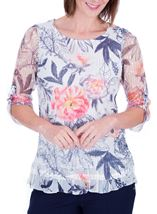 Anna Rose Printed Layered Top Navy/Coral - Gallery Image 2