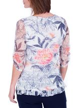 Anna Rose Printed Layered Top Navy/Coral - Gallery Image 3