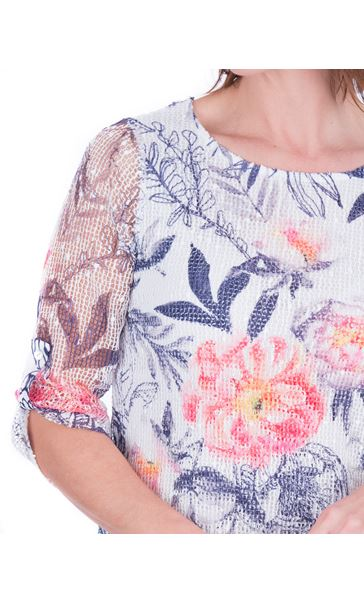 Anna Rose Printed Layered Top Navy/Coral - Gallery Image 4