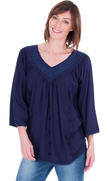 Lace Trimmed V Neck Loose Top Lt Blue