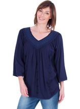 Lace Trimmed V Neck Loose Top Lt Blue - Gallery Image 1