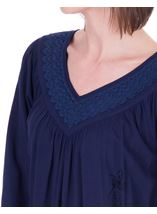 Lace Trimmed V Neck Loose Top Lt Blue - Gallery Image 3