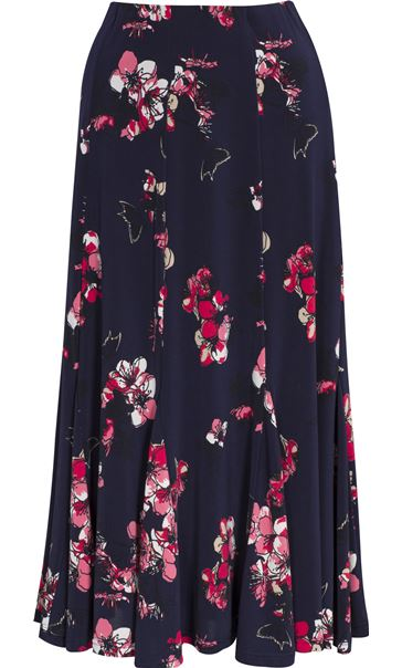 Anna Rose Floral Print Panelled Midi Skirt Navy/Watermelon