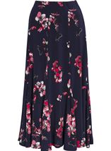Anna Rose Floral Print Panelled Midi Skirt Navy/Watermelon - Gallery Image 1