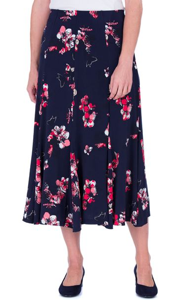 Anna Rose Floral Print Panelled Midi Skirt Navy/Watermelon - Gallery Image 2