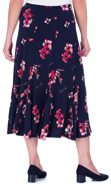 Anna Rose Floral Print Panelled Midi Skirt Navy/Watermelon - Gallery Image 3