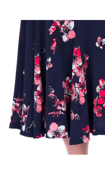Anna Rose Floral Print Panelled Midi Skirt Navy/Watermelon - Gallery Image 4