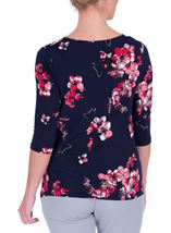 Anna Rose Printed Cowl Neck Stretch Top Navy/Watermelon - Gallery Image 3