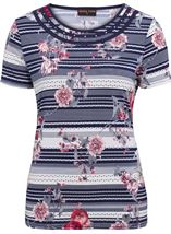 Anna Rose Spot And Floral Print Top Navy/Coral - Gallery Image 1