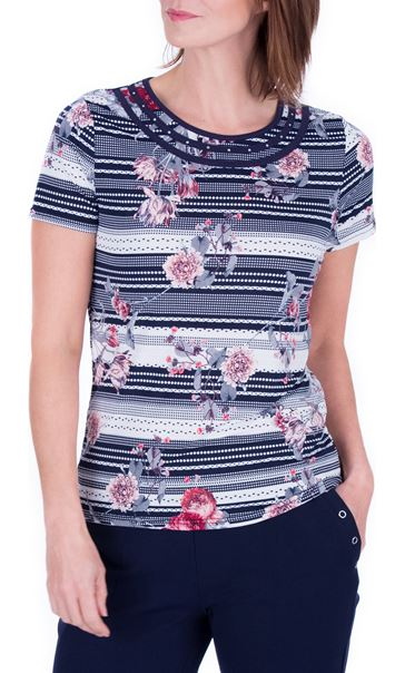Anna Rose Spot And Floral Print Top Navy/Coral - Gallery Image 2