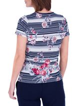 Anna Rose Spot And Floral Print Top Navy/Coral - Gallery Image 3