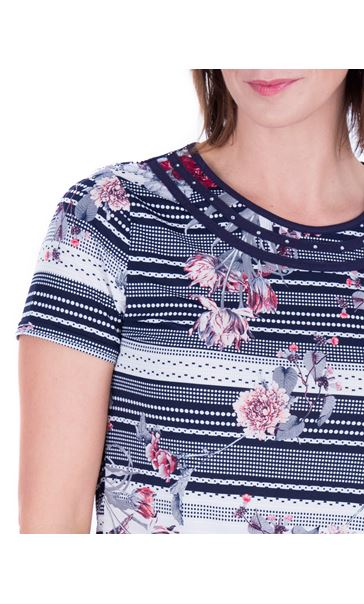 Anna Rose Spot And Floral Print Top Navy/Coral - Gallery Image 4