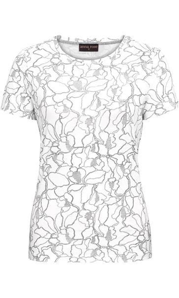 Anna Rose Textured Short Sleeve Top Ivory/Silver