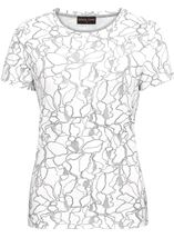 Anna Rose Textured Short Sleeve Top Ivory/Silver - Gallery Image 1