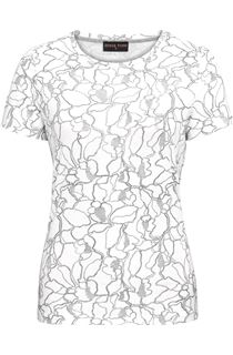 Anna Rose Metallic Textured Short Sleeve Top