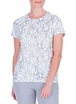 Anna Rose Textured Short Sleeve Top Ivory/Silver - Gallery Image 2