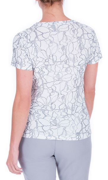 Anna Rose Textured Short Sleeve Top Ivory/Silver - Gallery Image 3