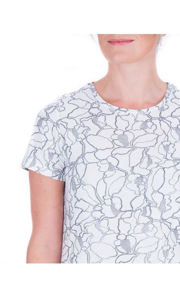 Anna Rose Textured Short Sleeve Top Ivory/Silver - Gallery Image 4