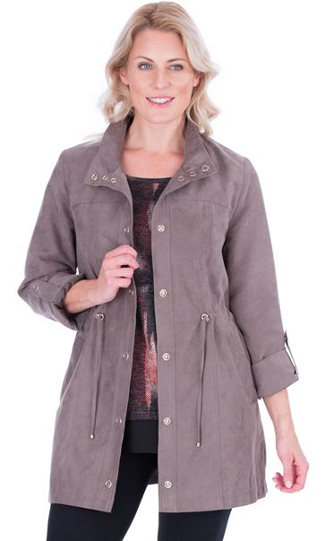 Lightweight Suedette Roll Sleeve Coat Taupe