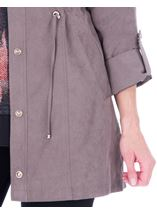 Lightweight Suedette Roll Sleeve Coat Taupe - Gallery Image 3