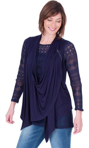 Long Sleeve Lace And Jersey Drape Top Navy