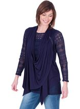 Long Sleeve Lace And Jersey Drape Top