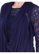 Long Sleeve Lace And Jersey Drape Top Navy - Gallery Image 3