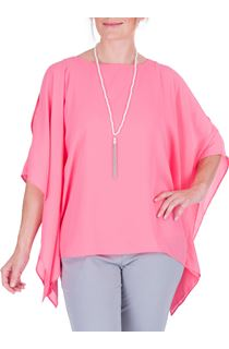 Anna Rose Jersey And Chiffon Layered Top With Necklace