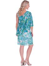 Printed Chiffon Layer Midi Dress Green - Gallery Image 2