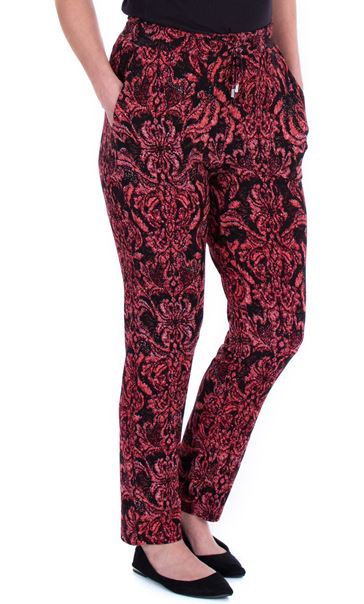Printed Jersey Tapered Trousers Red/Black