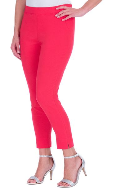 Fitted Pull On Cropped Stretch Trousers Pink