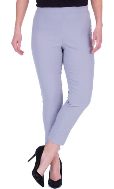 Fitted Pull On Cropped Stretch Trousers Grey