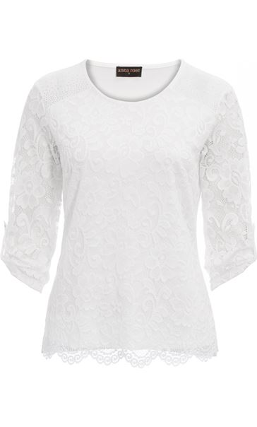 Anna Rose Lace And Jersey Embellished Top White
