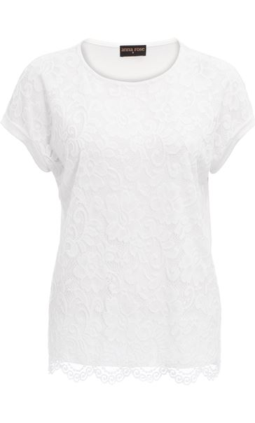 Anna Rose Lace And Jersey Top Ivory