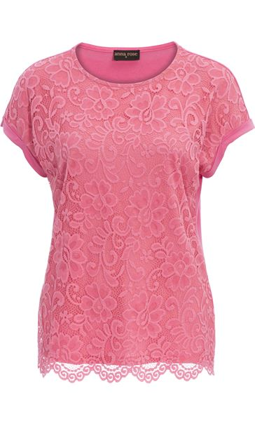 Anna Rose Lace And Jersey Top Confetti Pink