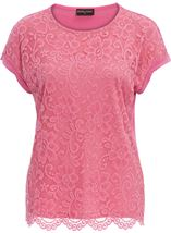 Anna Rose Lace And Jersey Top Confetti Pink - Gallery Image 1