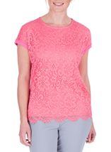 Anna Rose Lace And Jersey Top Confetti Pink - Gallery Image 2