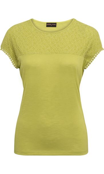 Anna Rose Lace Trim Jersey Top Lime