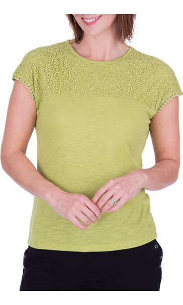 Anna Rose Lace Trim Jersey Top Lime - Gallery Image 2