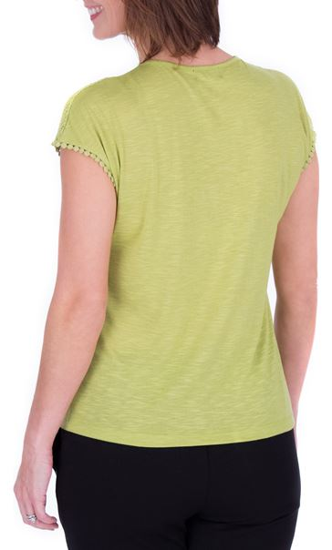 Anna Rose Lace Trim Jersey Top Lime - Gallery Image 3
