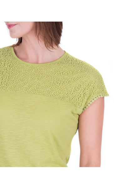 Anna Rose Lace Trim Jersey Top Lime - Gallery Image 4