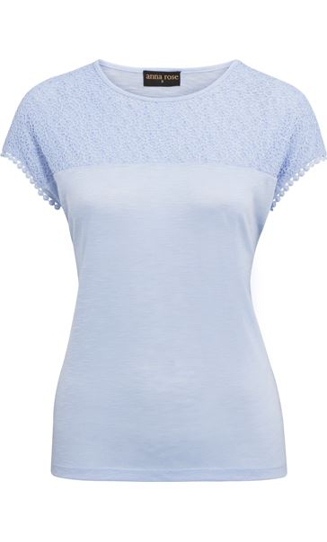Anna Rose Lace Trim Jersey Top Sky Blue