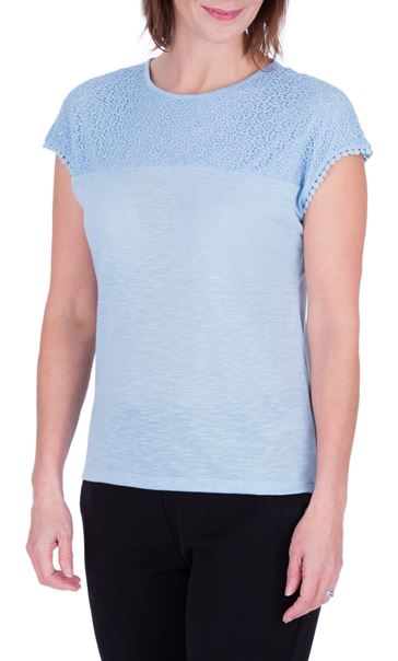 Anna Rose Lace Trim Jersey Top Sky Blue - Gallery Image 2