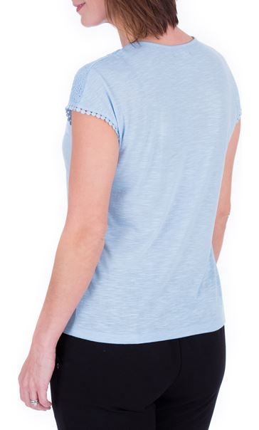 Anna Rose Lace Trim Jersey Top Sky Blue - Gallery Image 3