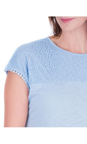 Anna Rose Lace Trim Jersey Top Sky Blue - Gallery Image 4