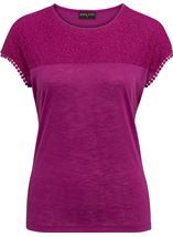 Anna Rose Lace Trim Jersey Top Magenta - Gallery Image 1